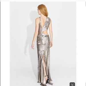 Halston Heritage Silver Sequin cut out gown